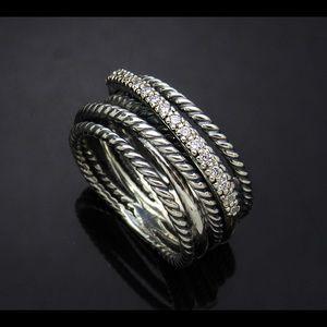D.Yurman Strerlig Wide Crossover Diamond Ring Sz.7